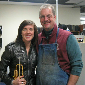 Jim Vecker with St. Louis princpal trumpet Karen Bliznik